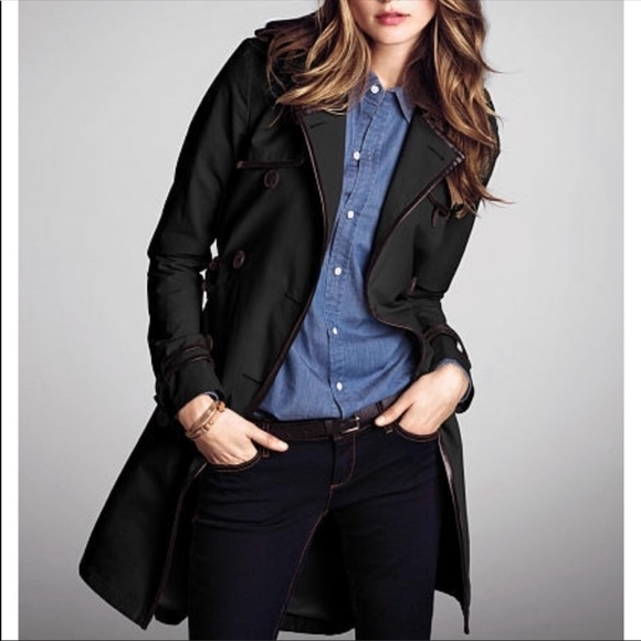 Victoria's Secret Jackets & Blazers - VICTORIA'S SECRET Faux Leather Trim Trench Coat